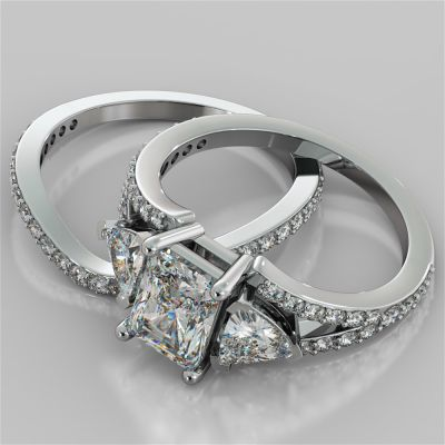 Split Shank 3-Stone Radiant Cut Wedding Set