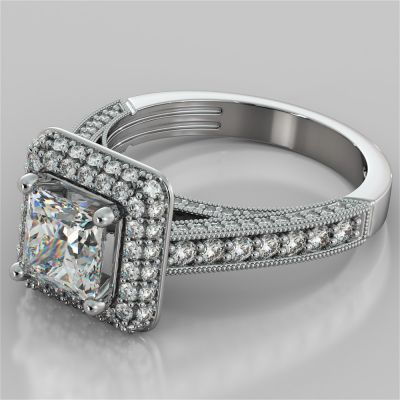 Princess Cut Crisscross Cathedral Engagement Ring