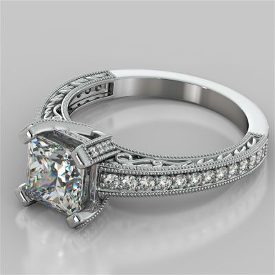 Princess Cut Filigree Engagement Ring with Accents