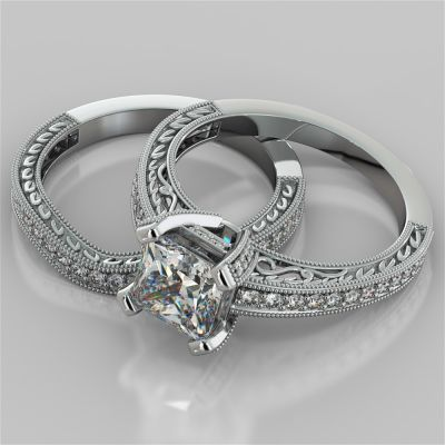 Antique Style Princess Cut Filigree Wedding Set with Accents