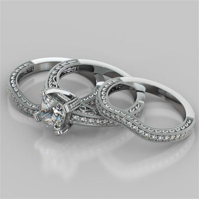 Filigree Style Princess Cut Trio Wedding Set with Round Accents