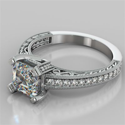 Filigree Style Asscher Cut Engagement Ring with Accents