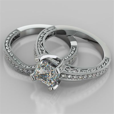 Accented Filigree Style Asscher Cut Wedding Set
