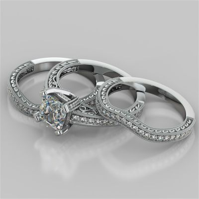 Asscher Cut Trio Wedding Set with Tapered Filigree Shoulders and Round Accents