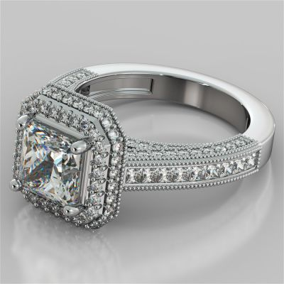 Pavé-Style Asscher Cut Cathedral Engagement Ring