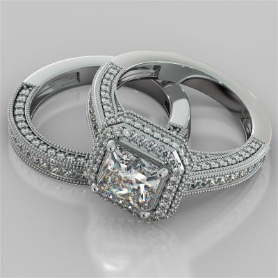 Asscher Cut Cathedral Style Two-Tier Pavé Halo Wedding Set