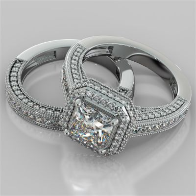 Two-Tier Pavé-Style Halo Princess Cut Cathedral Wedding Set