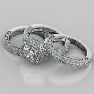 Vintage Style Pavé Double Halo Asscher Cut Cathedral Trio Wedding Set