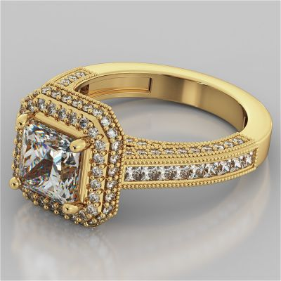 18K Yellow Gold Pavé-Style Asscher Cut Cathedral Engagement Ring
