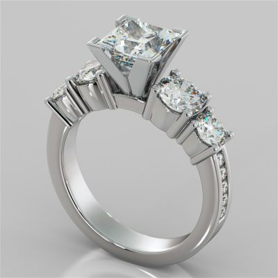 3.11Ct Princess Cut 5-Stone Engagement Ring with Accents in 14K White Gold