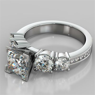 Princess Cut 5-Stone Engagement Ring with Accents
