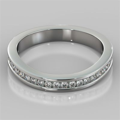 Contoured Round Cut Channel Setting Wedding Band