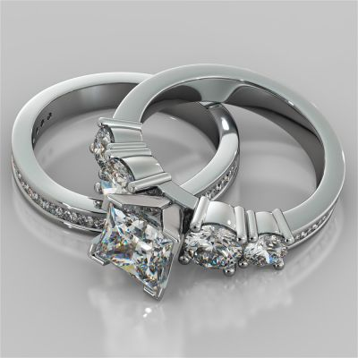 Channel Setting 5-Stone Princess Cut Wedding Set with Accents