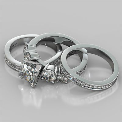 5-Stone Princess Cut Trio Wedding Set with Channel Set Accents