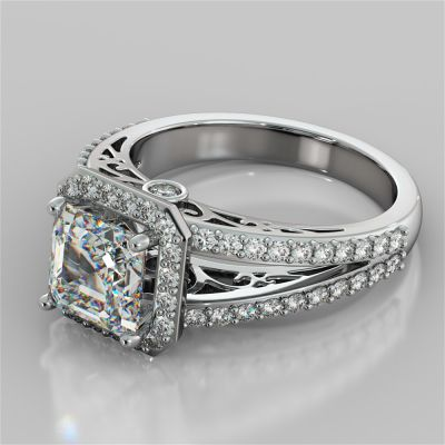 Asscher Cut Split Shank Engagement Ring with Filigree Setting