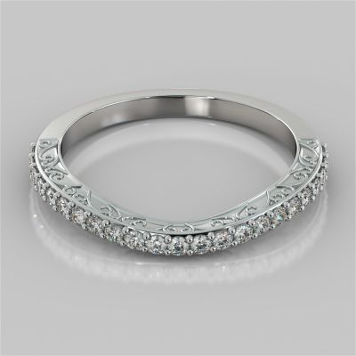 Filigree Style Contoured Wedding Band