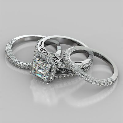 Asscher Cut Trio-Wedding Set with Accented Filigree Split Shanks