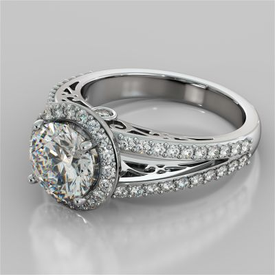 2.19Ct Round Cut Engagement Ring with Filigree in 14K White Gold