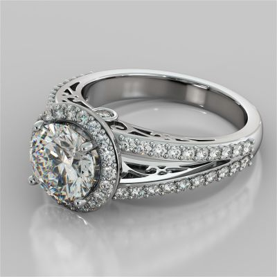 Round Cut Engagement Ring with Filigree Split Shanks