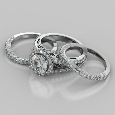 Accented Filigree Style Round Cut Trio-Wedding Set