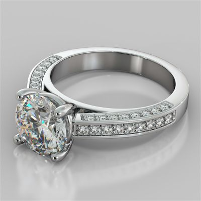 Round Cut Cathedral Engagement Ring with Channel Set Accents