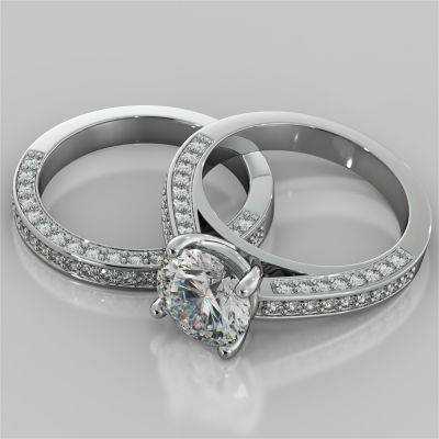 Accented Cathedral Style Round Cut Wedding Set with Accents