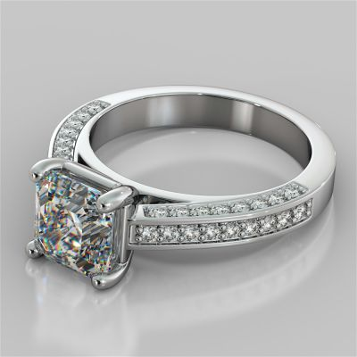 Asscher Cut Channel Set Cathedral Engagement Ring with Accents