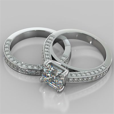 Asscher Cut Cathedral Style Wedding Set with Accents