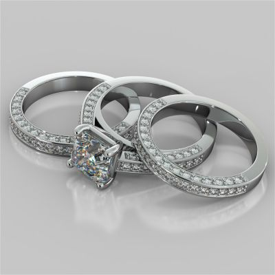 Cathedral Style Asscher Cut Trio-Wedding Set with Round Accents