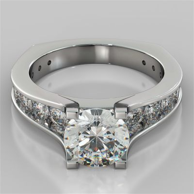 Round Cut Euro Style Engagement Ring with Channel Set Accents
