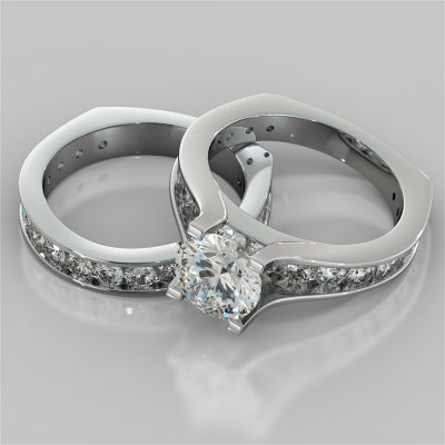 Round Cut Bridge Style Wedding Set with Euro Band
