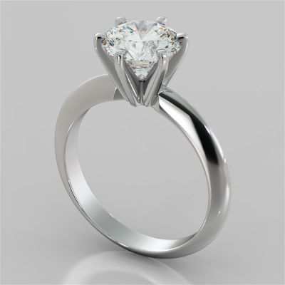 2.0CT Classic 6-Prong Round Cut Tiffany Style Engagement Ring in 14K White Gold