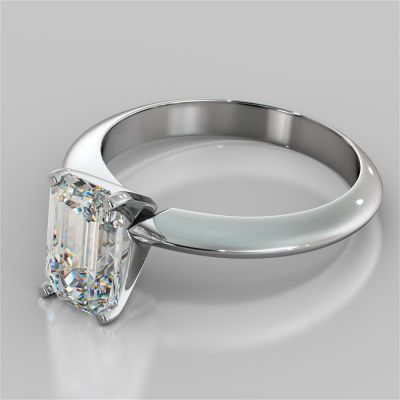 Emerald Cut Tiffany Style Engagement Ring