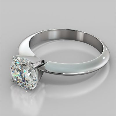Round Cut 4-Prong Tiffany Style Engagement Ring