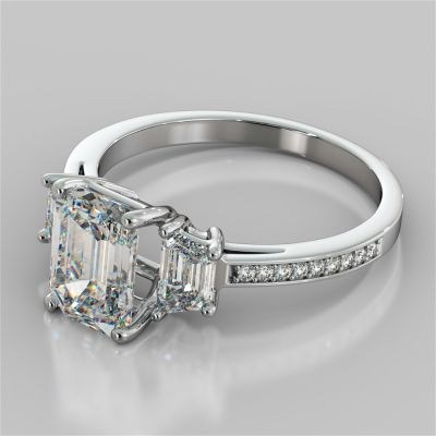 Emerald Cut Three-Stone Engagement Ring With Trapezoid Accents