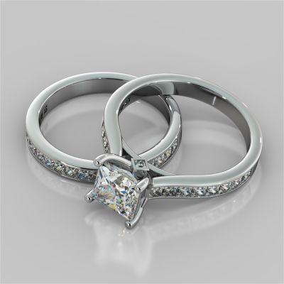 Princess Cut Channel Set Cathedral Style Wedding Set