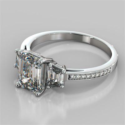 Radiant Cut Three-Stone Engagement Ring With Trapezoids