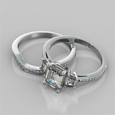 Radiant Cut Three Stone Wedding Set With Trapezoids