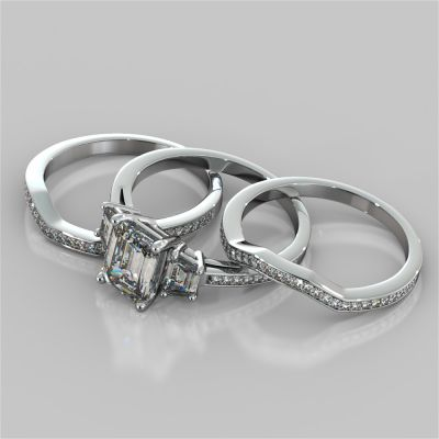 Radiant Cut and Trapezoids Accents Wedding Set With 2 Matching Bands