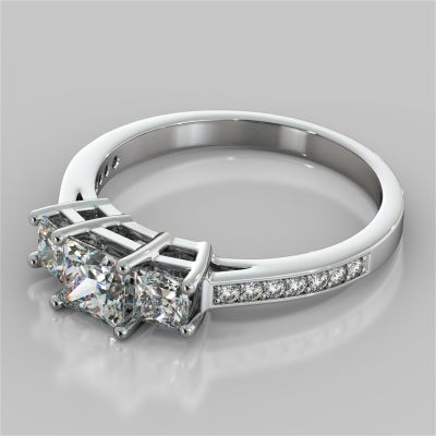 Princess Cut Three Stone Engagement Ring With Accents