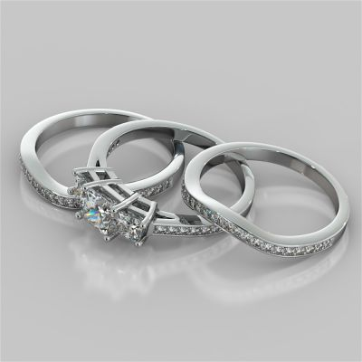 Princess Cut Accented Three Stone Wedding Set With 2 Matching Bands