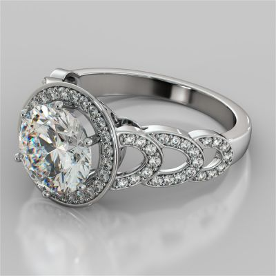 Round Cut Halo Cathedral Style Engagement Ring With Accents