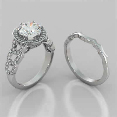 Round Cut Halo Cathedral Style Wedding Set With Accents