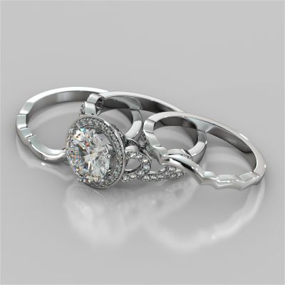 Round Cut Halo Cathedral Style Wedding Set With 2 Matching Bands