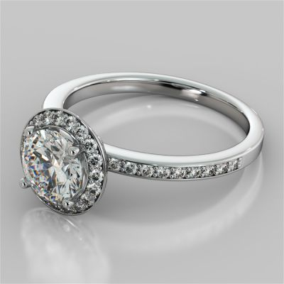 Round Cut Pavé Style Halo Engagement Ring