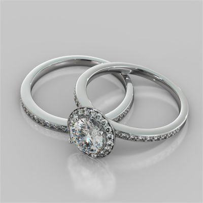 Round Cut Pavé Style Halo Wedding Set With Accents
