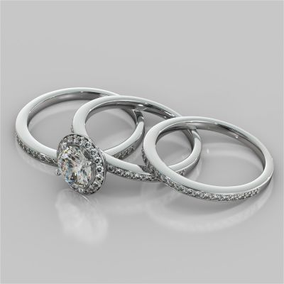 Round Cut Pavé Style Halo Wedding Set With 2 Matching Bands