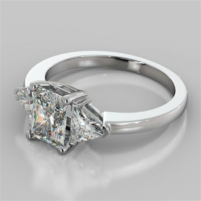 Radiant Cut Three-Stone Engagement Ring With Trillion Accents