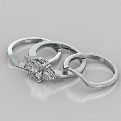Radiant Cut Three-Stone Wedding Set With 2 Matching Bands
