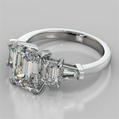 2.81Ct Emerald Cut Five-Stone Engagement Ring in 14K White Gold